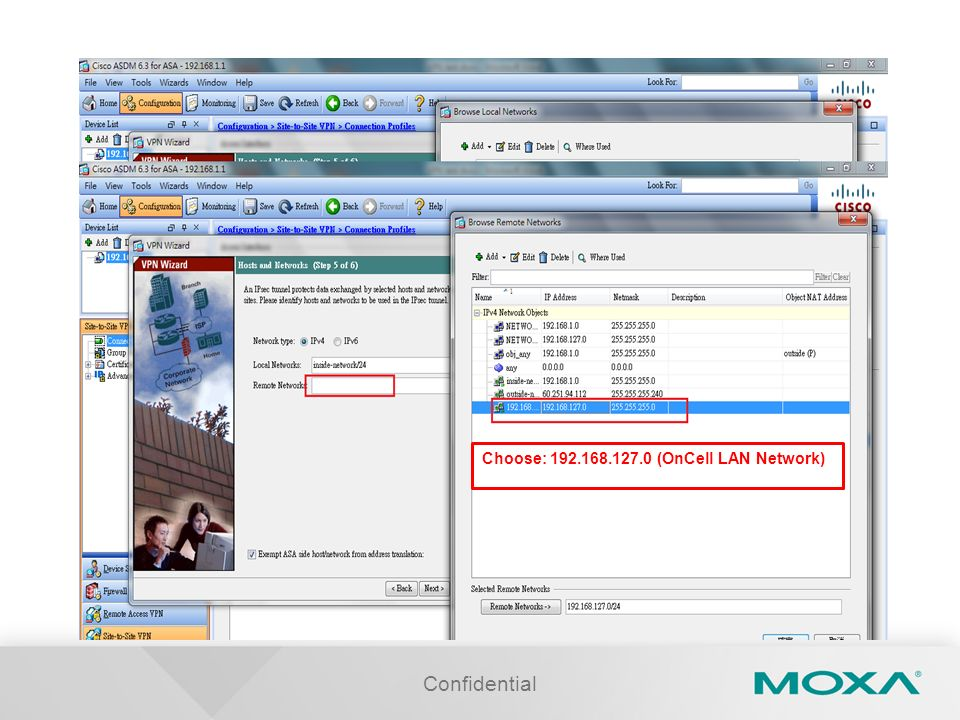 Choose: 192.168.127.0 (OnCell LAN Network)