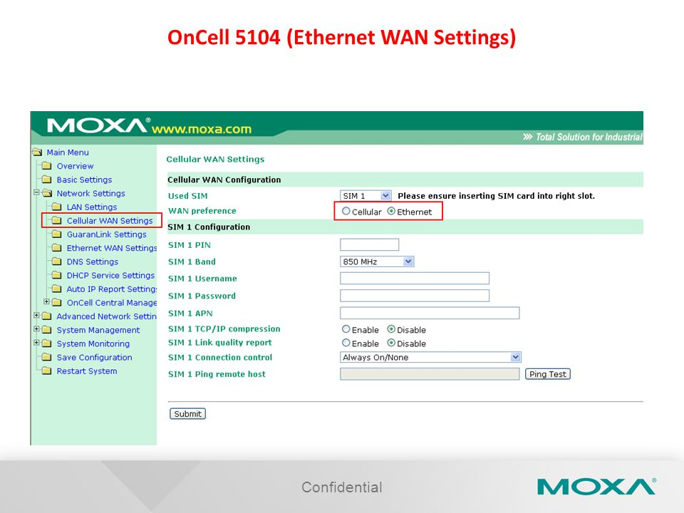 OnCell 5104 (Ethernet WAN Settings)