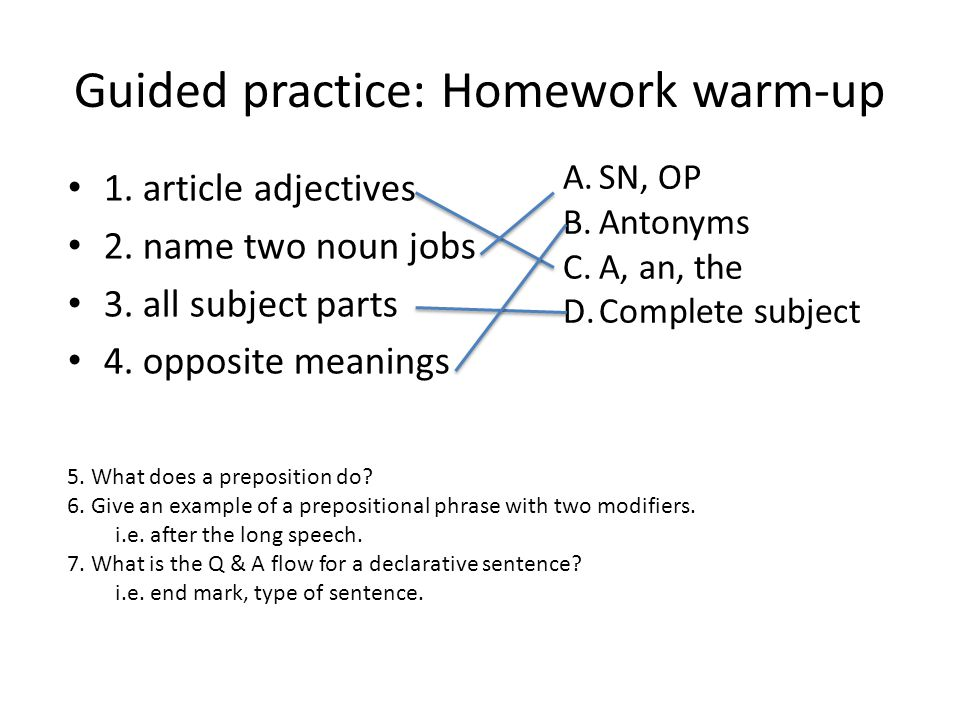 Guided practice: Homework warm-up