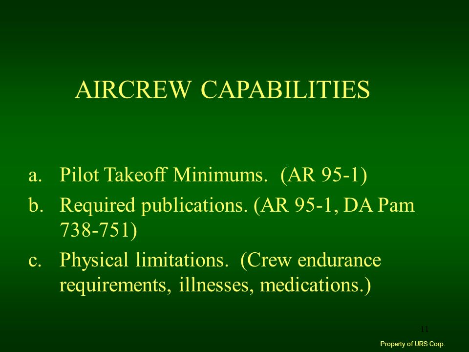 AIRCREW CAPABILITIES Pilot Takeoff Minimums. (AR 95-1)