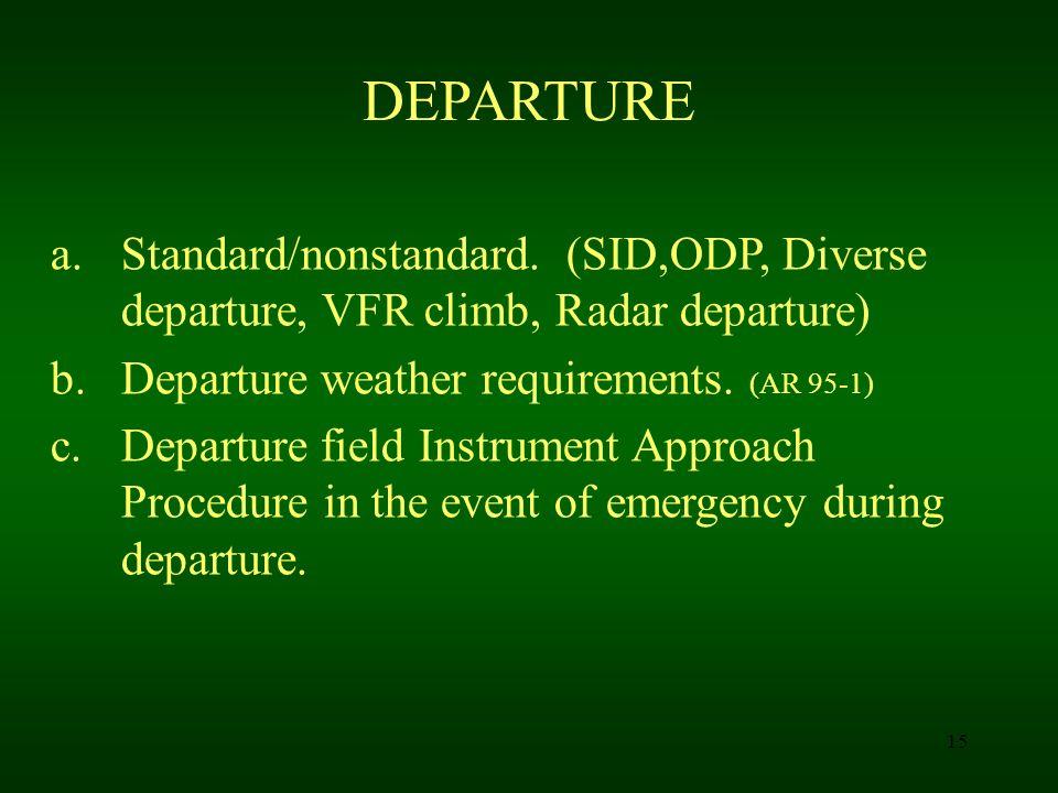 DEPARTURE Standard/nonstandard. (SID,ODP, Diverse departure, VFR climb, Radar departure) Departure weather requirements. (AR 95-1)