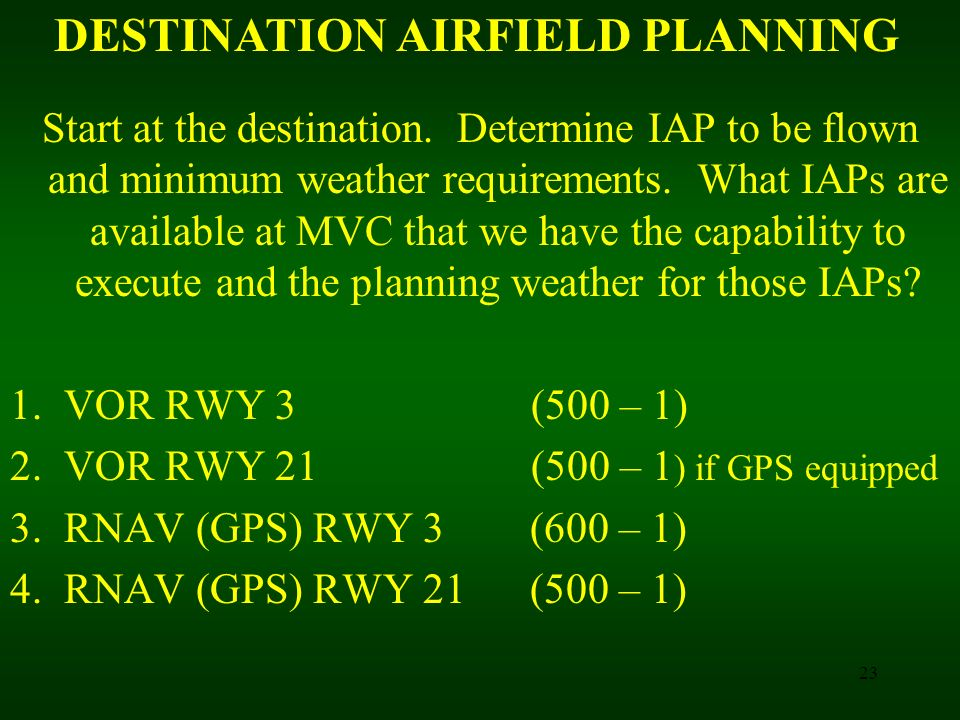 DESTINATION AIRFIELD PLANNING