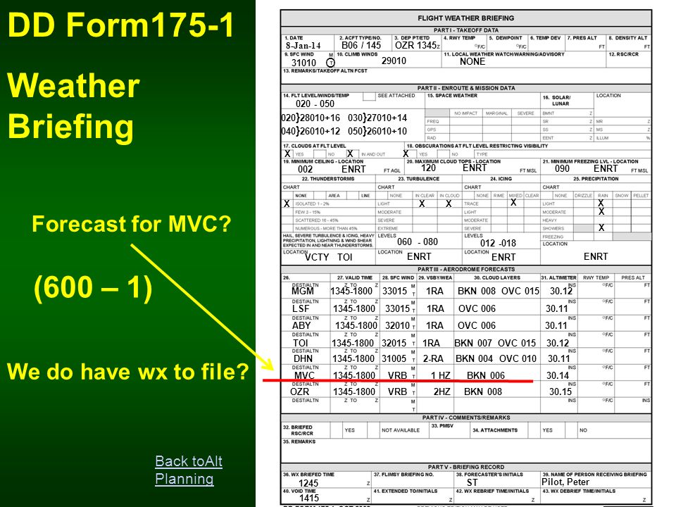 DD Form175-1 Weather Briefing (600 – 1) Forecast for MVC