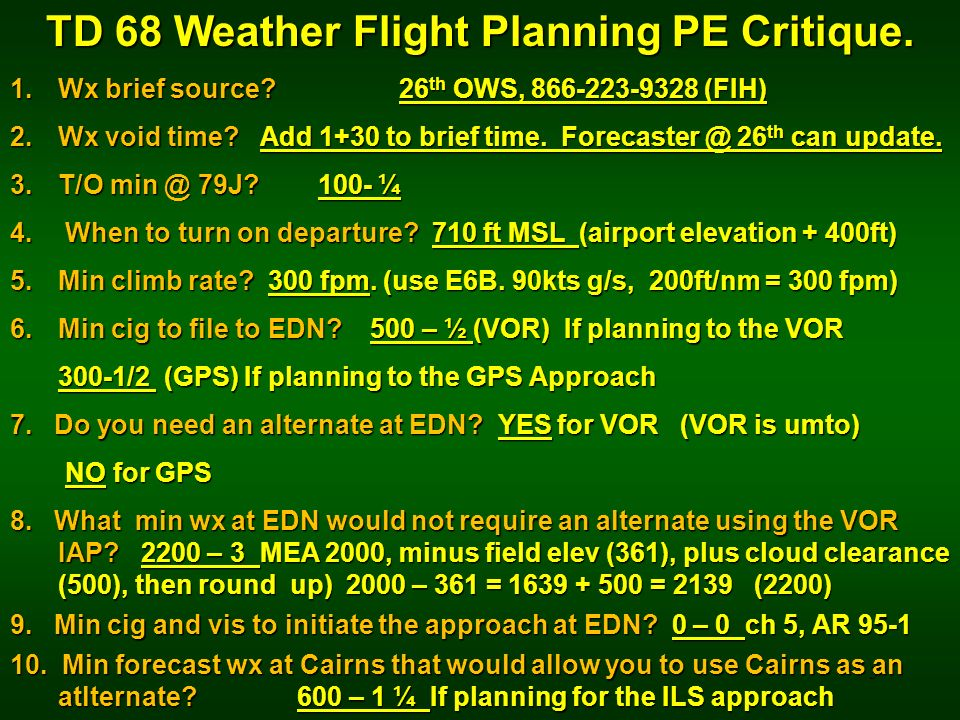 TD 68 Weather Flight Planning PE Critique.