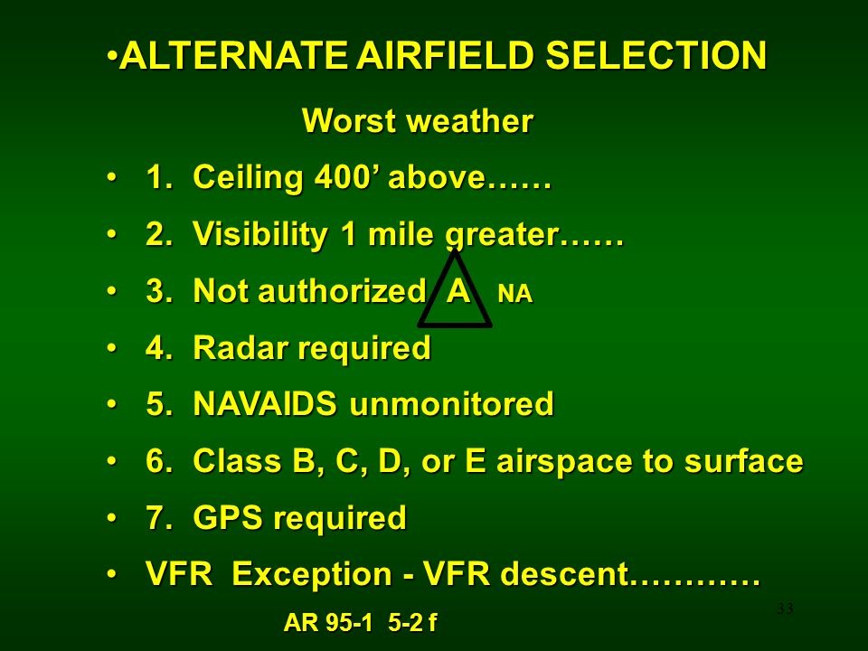 ALTERNATE AIRFIELD SELECTION