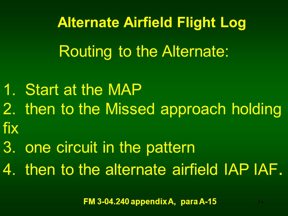 Alternate Airfield Flight Log