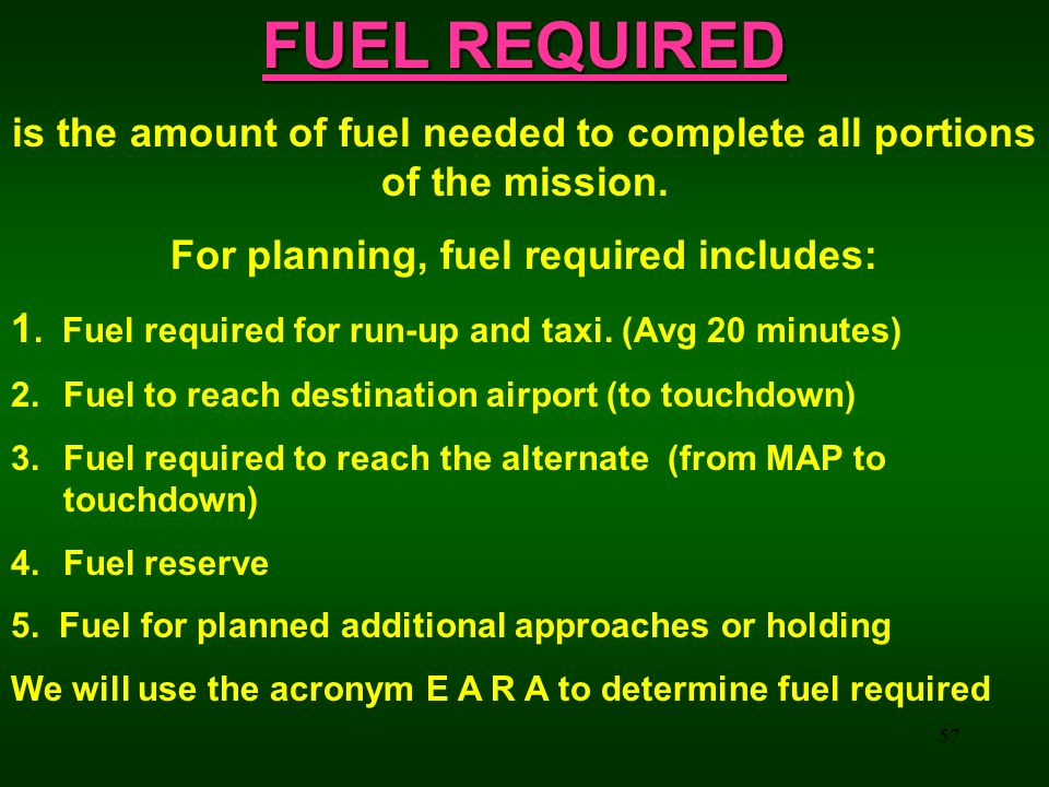 FUEL REQUIRED is the amount of fuel needed to complete all portions of the mission. For planning, fuel required includes: