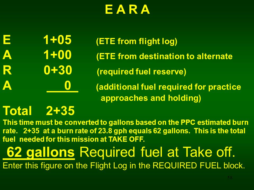 62 gallons Required fuel at Take off.