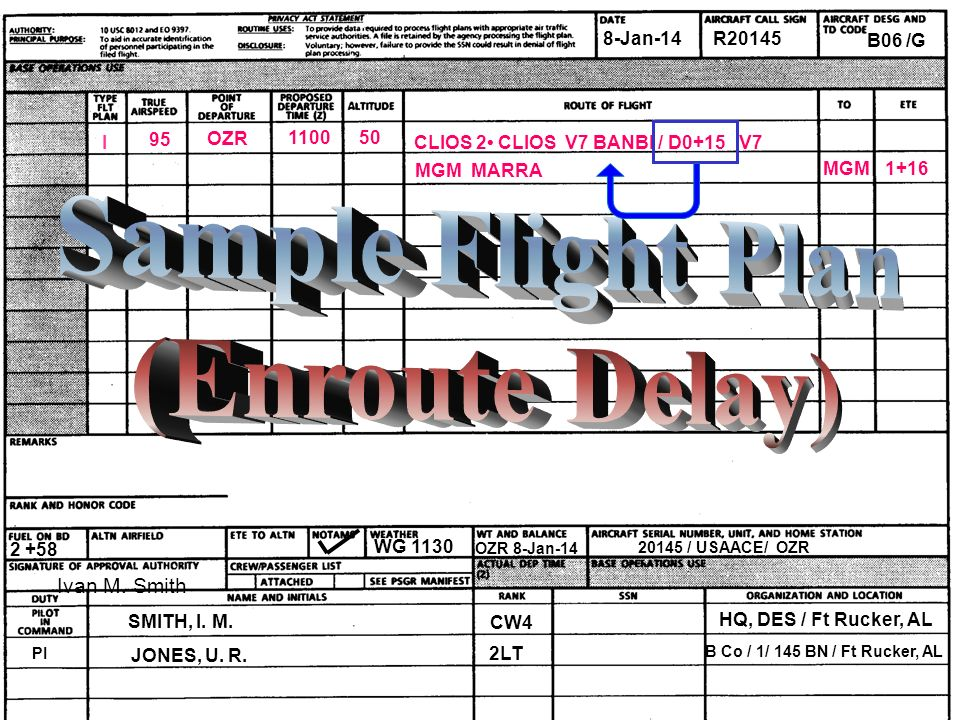 Sample Flight Plan (Enroute Delay)