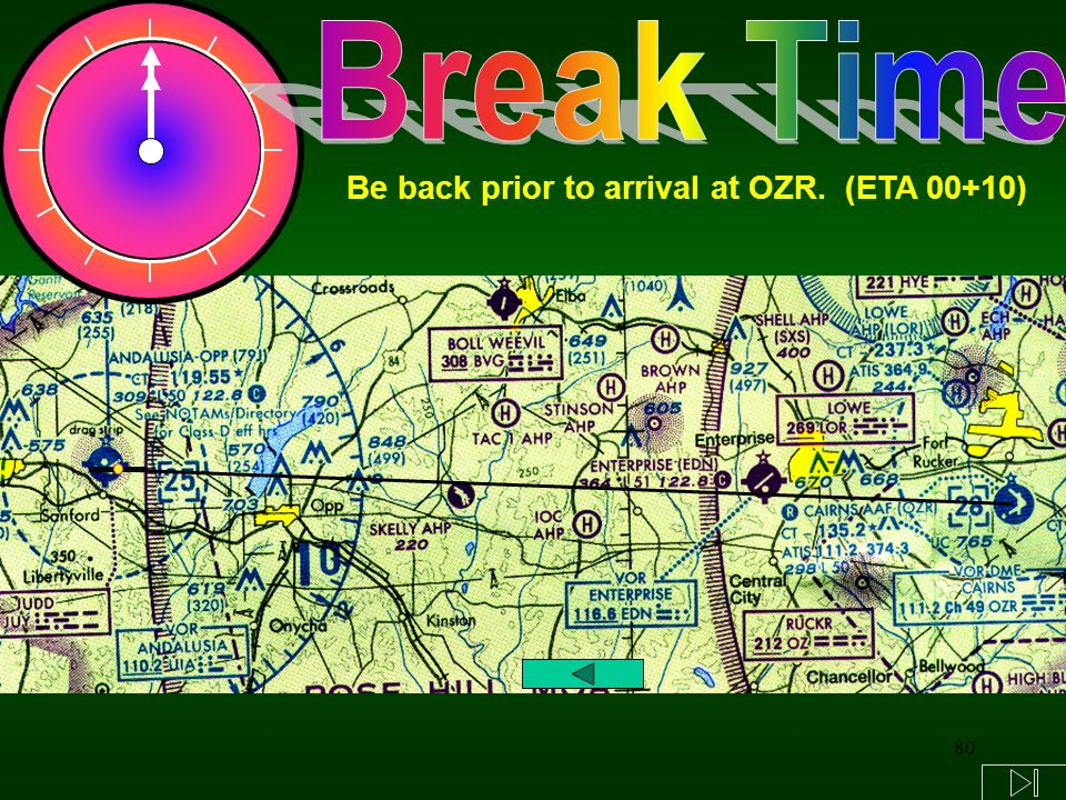 Break Time Be back prior to arrival at OZR. (ETA 00+10)