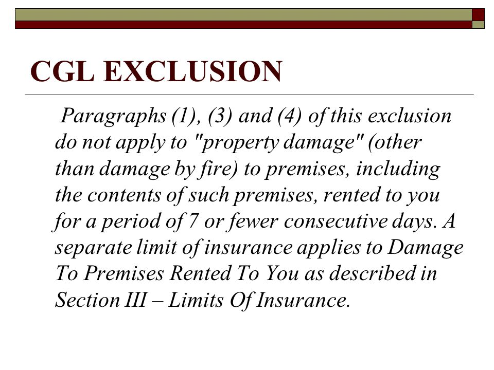 CGL EXCLUSION