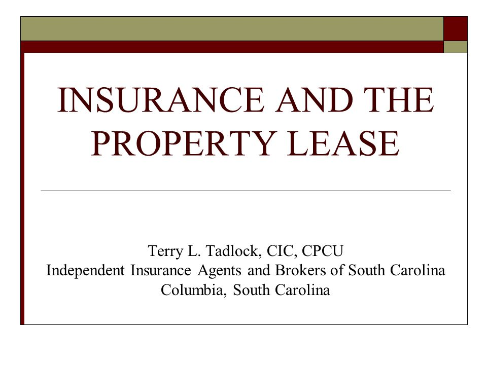 INSURANCE AND THE PROPERTY LEASE