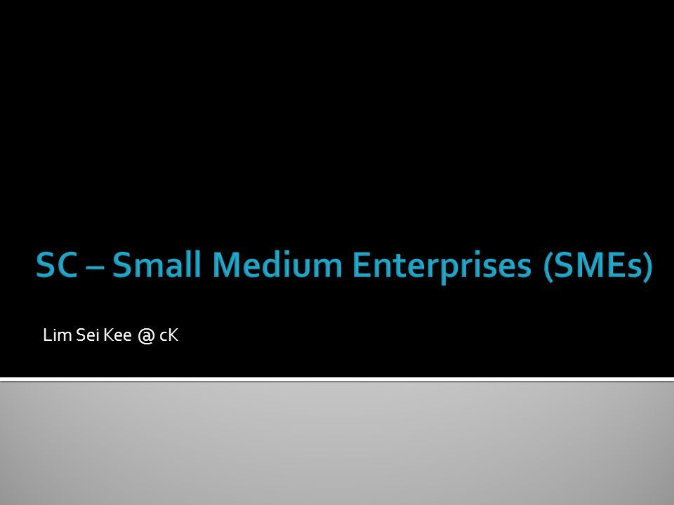 SC – Small Medium Enterprises (SMEs)