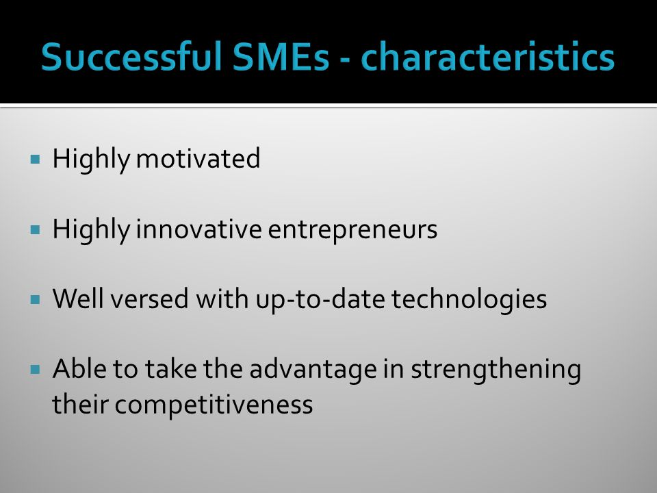 Successful SMEs - characteristics