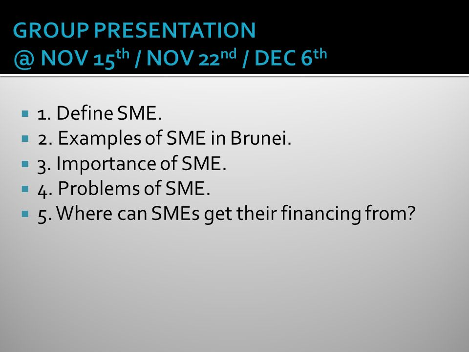 GROUP PRESENTATION @ NOV 15th / NOV 22nd / DEC 6th