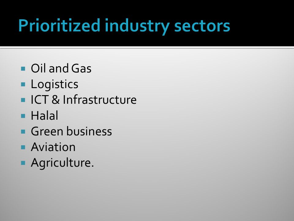 Prioritized industry sectors