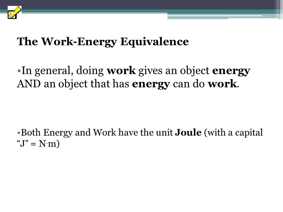 The Work-Energy Equivalence