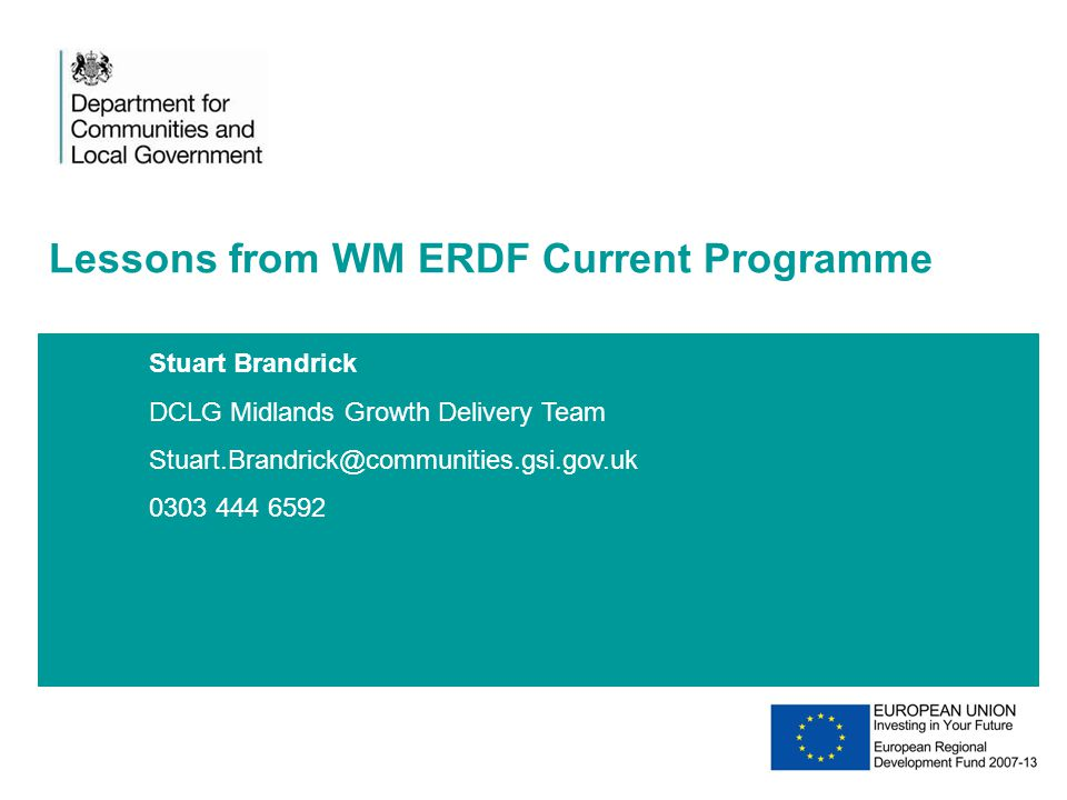 Lessons from WM ERDF Current Programme