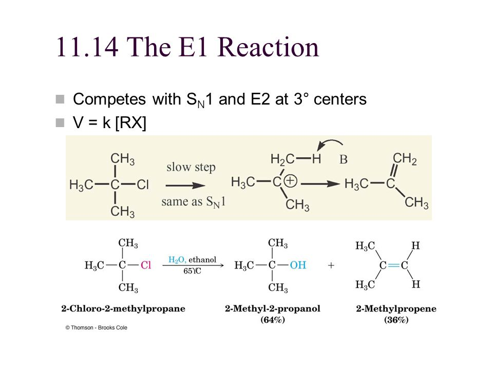 11.14 The E1 Reaction Competes with SN1 and E2 at 3° centers