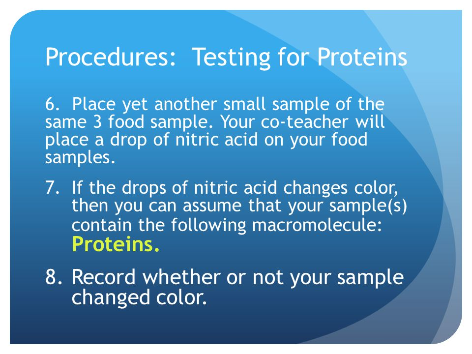 Procedures: Testing for Proteins