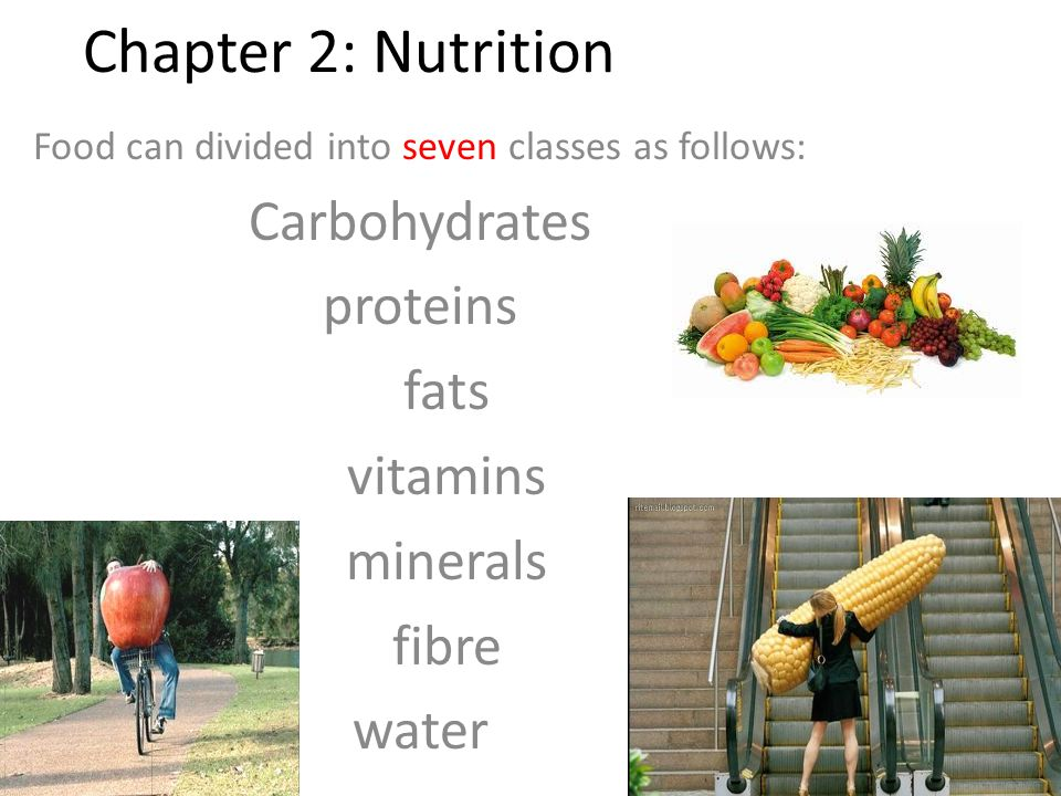 Food can divided into seven classes as follows: