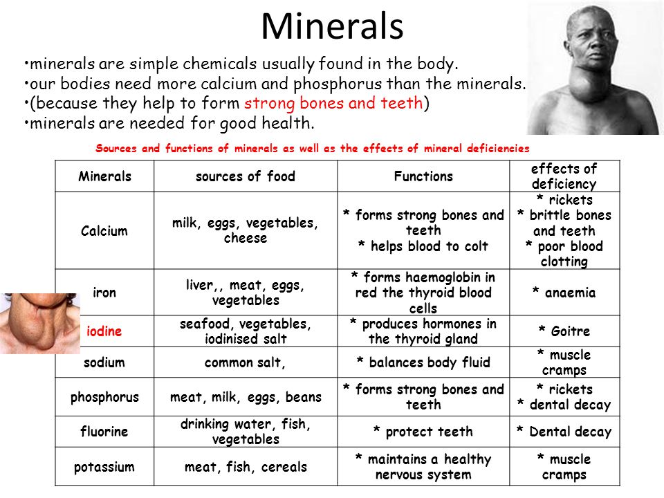 Minerals minerals are simple chemicals usually found in the body.