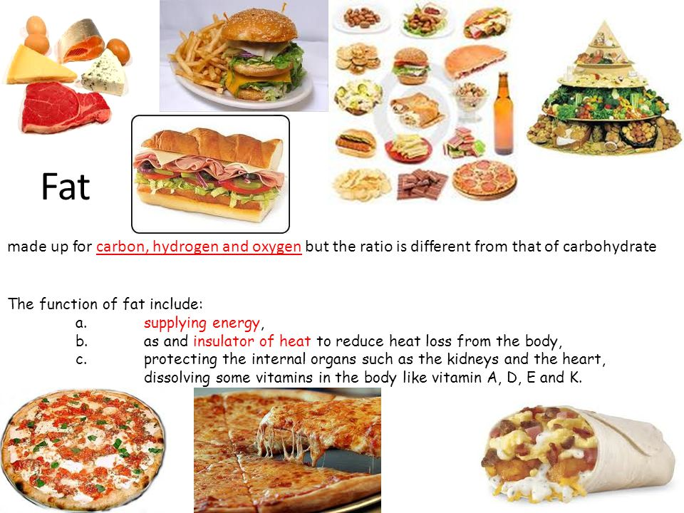 Fat made up for carbon, hydrogen and oxygen but the ratio is different from that of carbohydrate. The function of fat include: