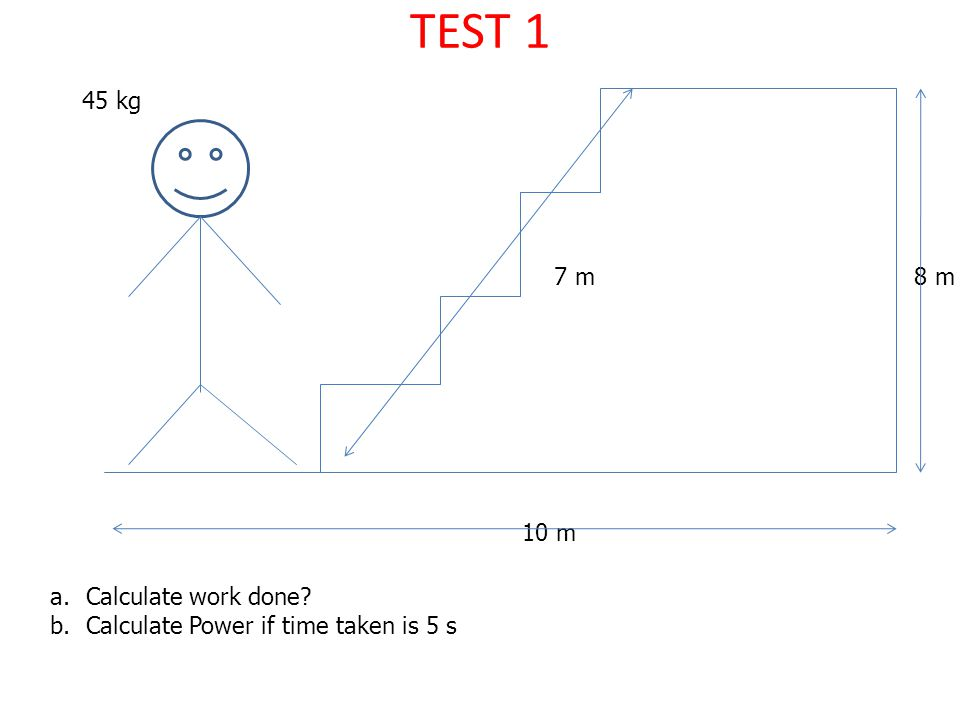 TEST 1 45 kg 7 m 8 m 10 m Calculate work done