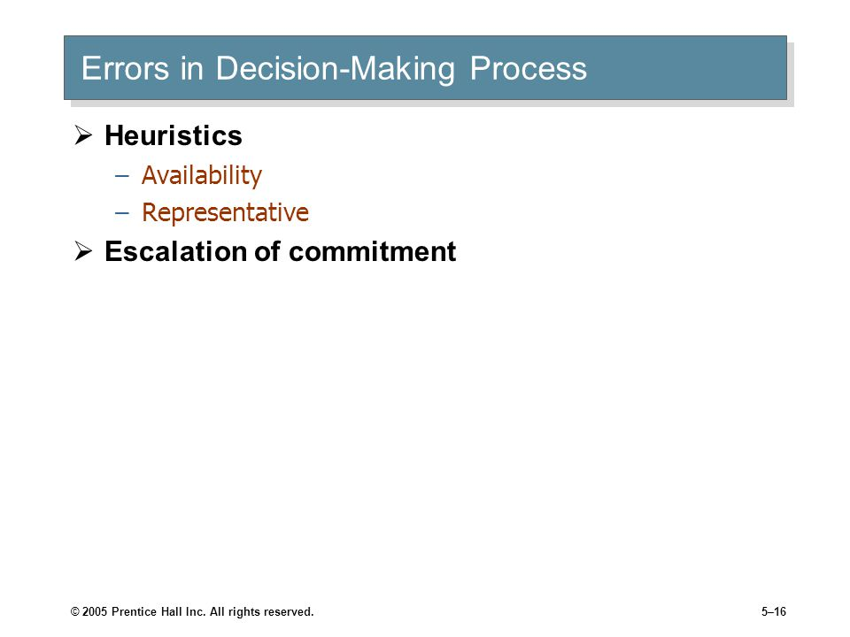 Errors in Decision-Making Process