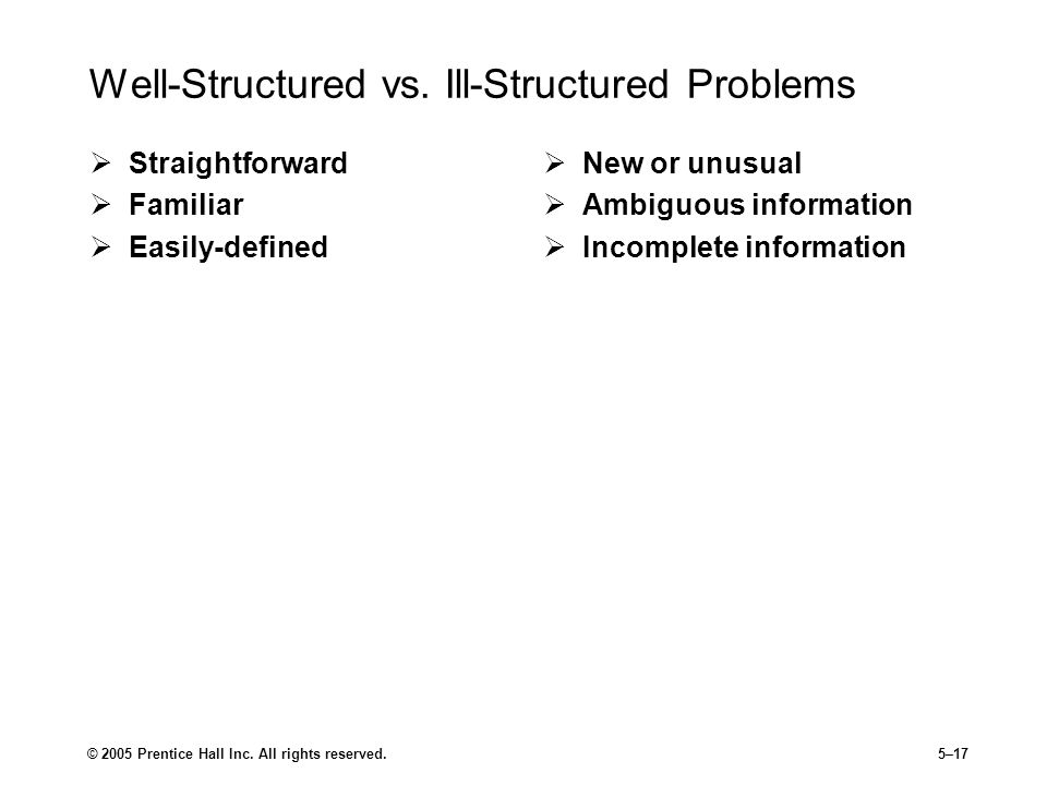 Well-Structured vs. Ill-Structured Problems