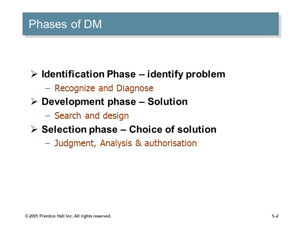 Phases of DM Identification Phase – identify problem