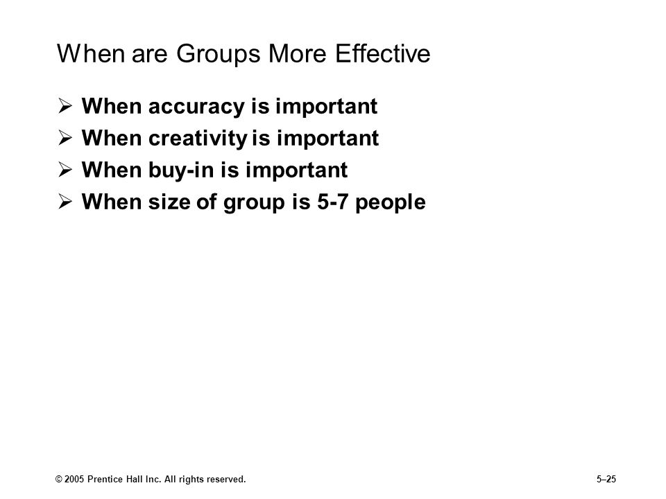 When are Groups More Effective