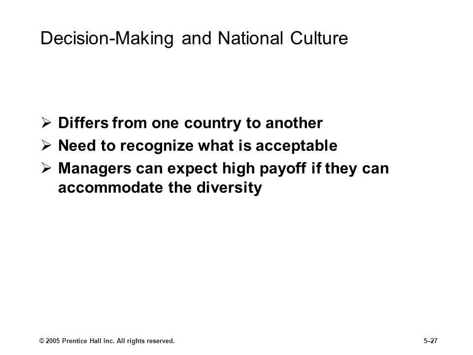 Decision-Making and National Culture