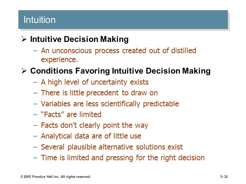 Intuition Intuitive Decision Making