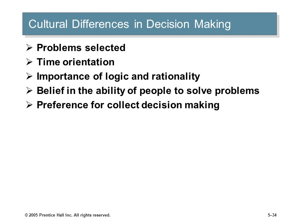 Cultural Differences in Decision Making