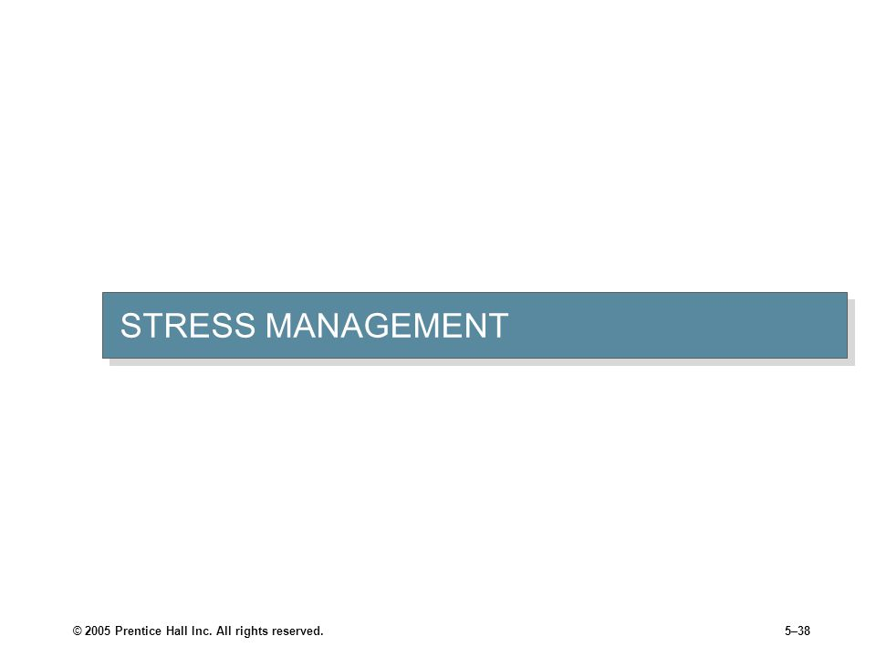 STRESS MANAGEMENT © 2005 Prentice Hall Inc. All rights reserved.