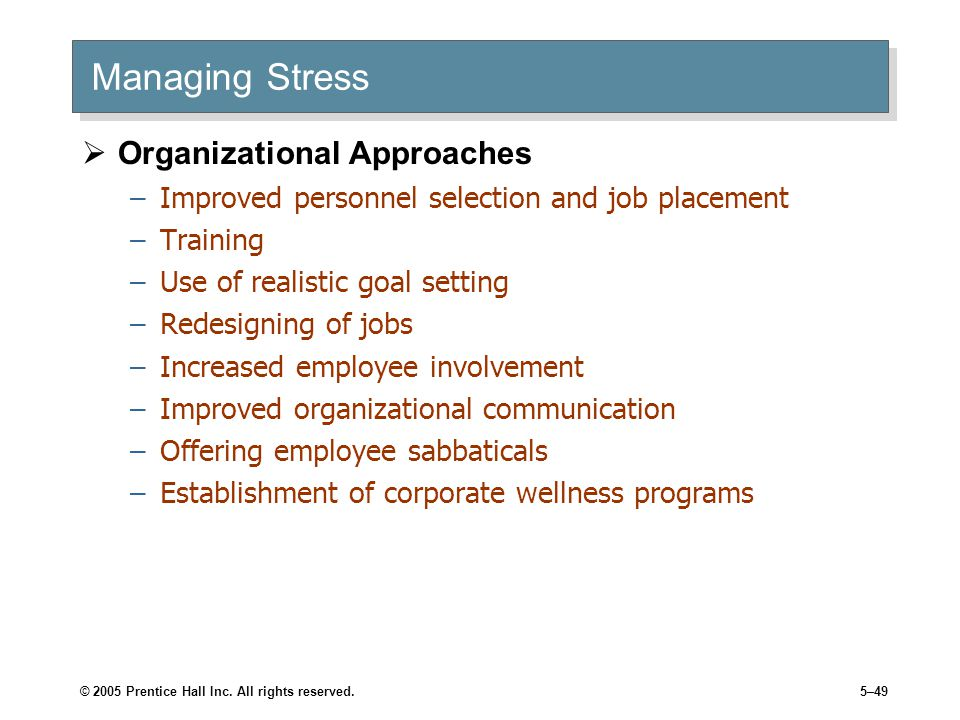 Managing Stress Organizational Approaches