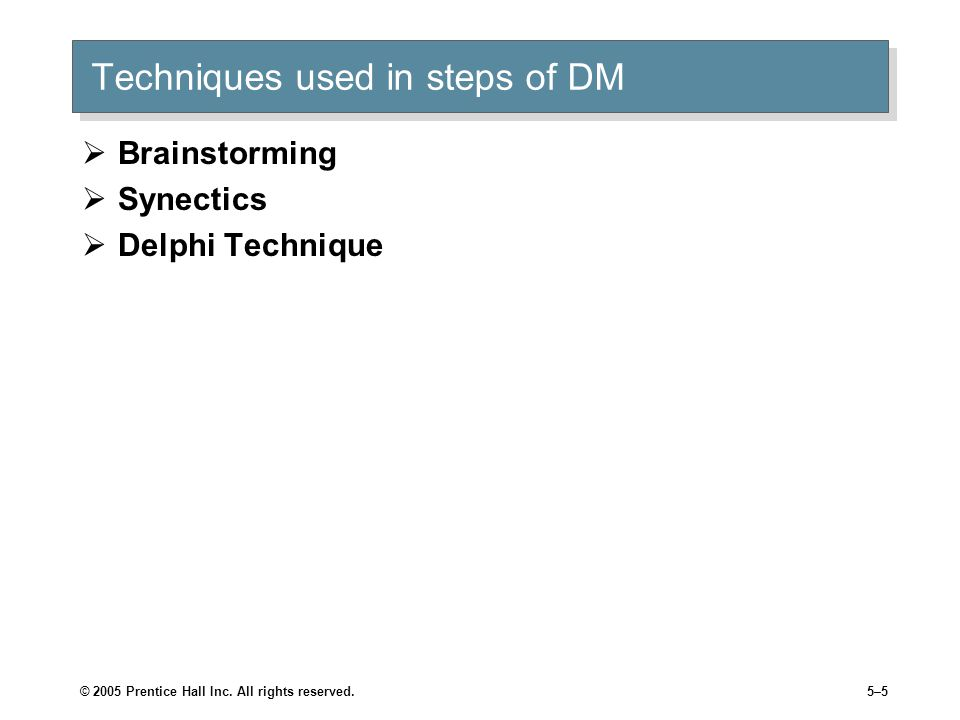 Techniques used in steps of DM