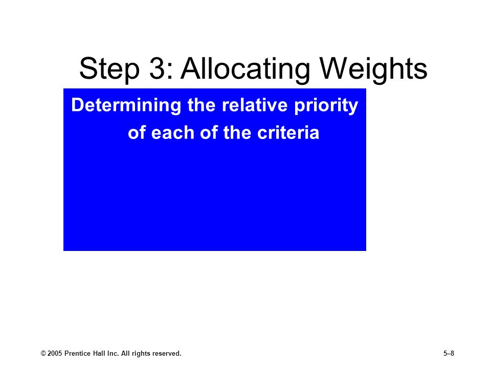 Determining the relative priority of each of the criteria
