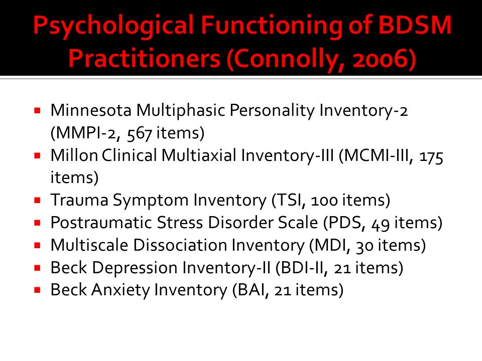 Psychological Functioning of BDSM Practitioners (Connolly, 2006)