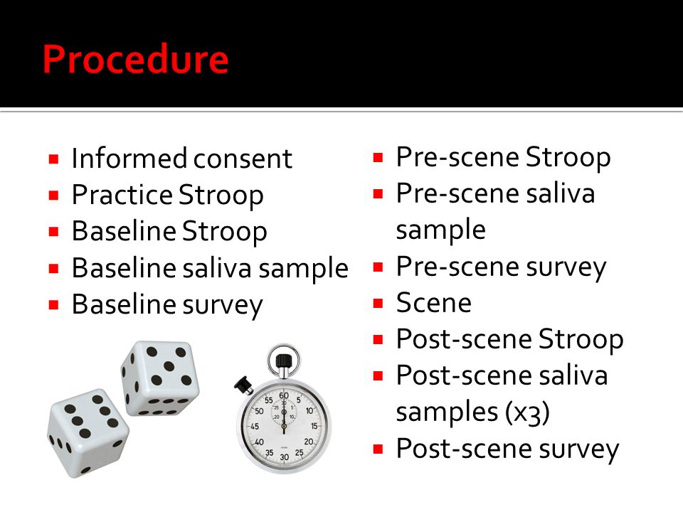 Procedure Informed consent Pre-scene Stroop Practice Stroop