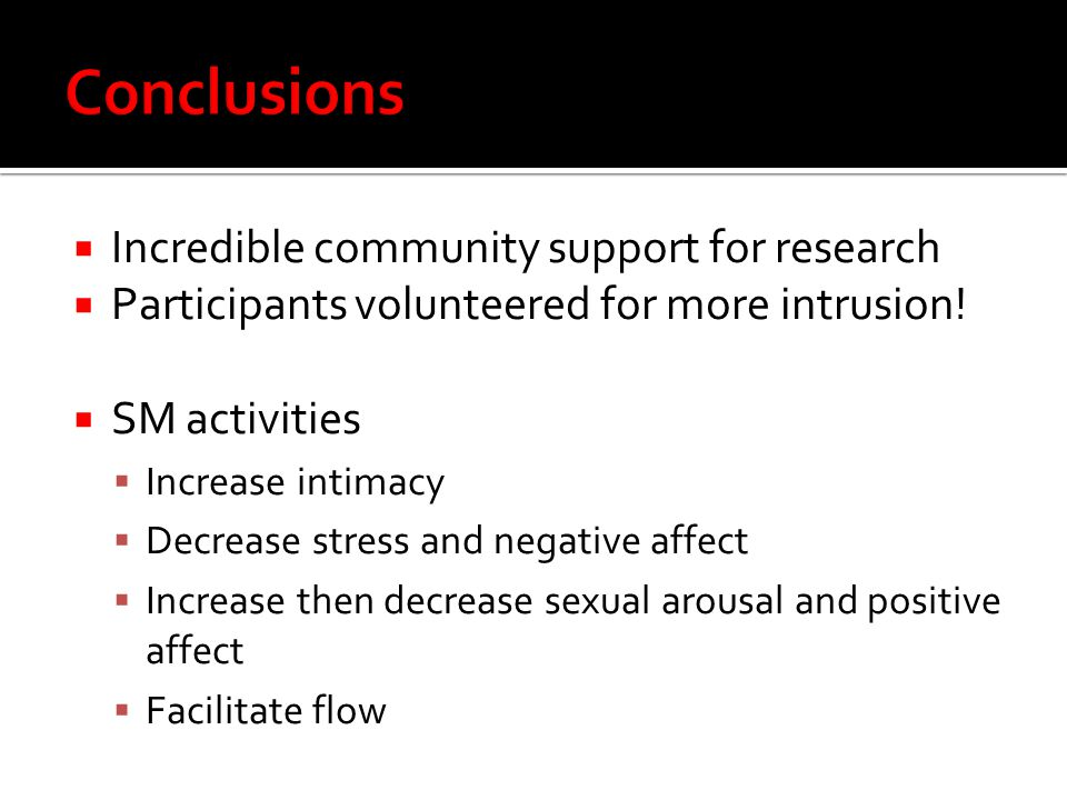 Conclusions Incredible community support for research