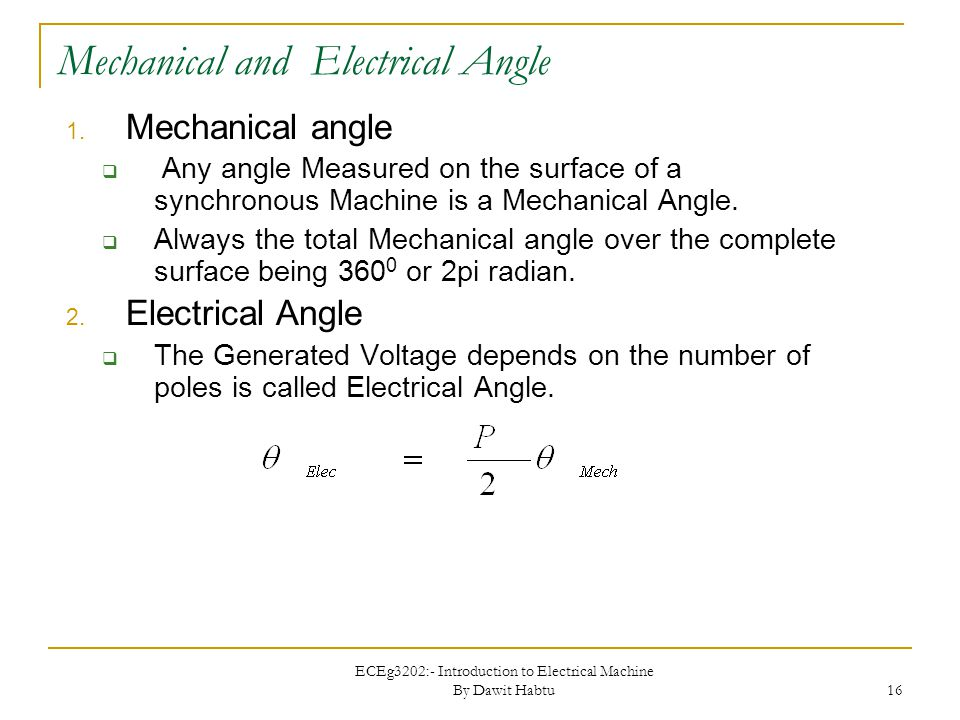 Mechanical and Electrical Angle