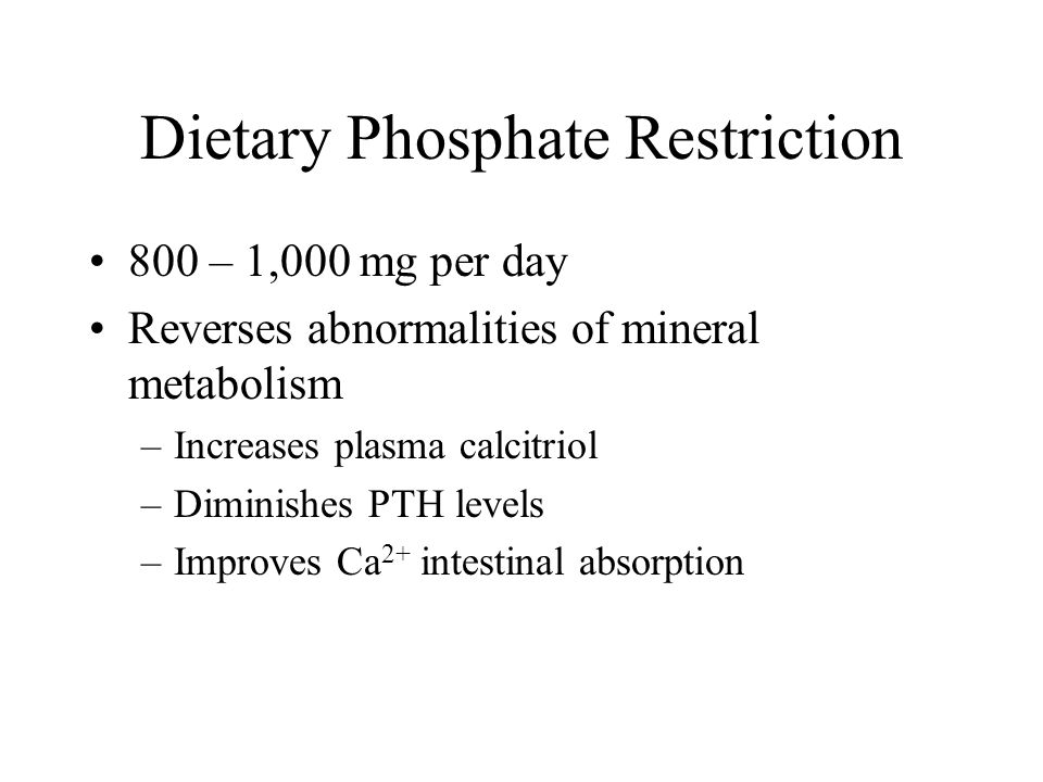 Dietary Phosphate Restriction