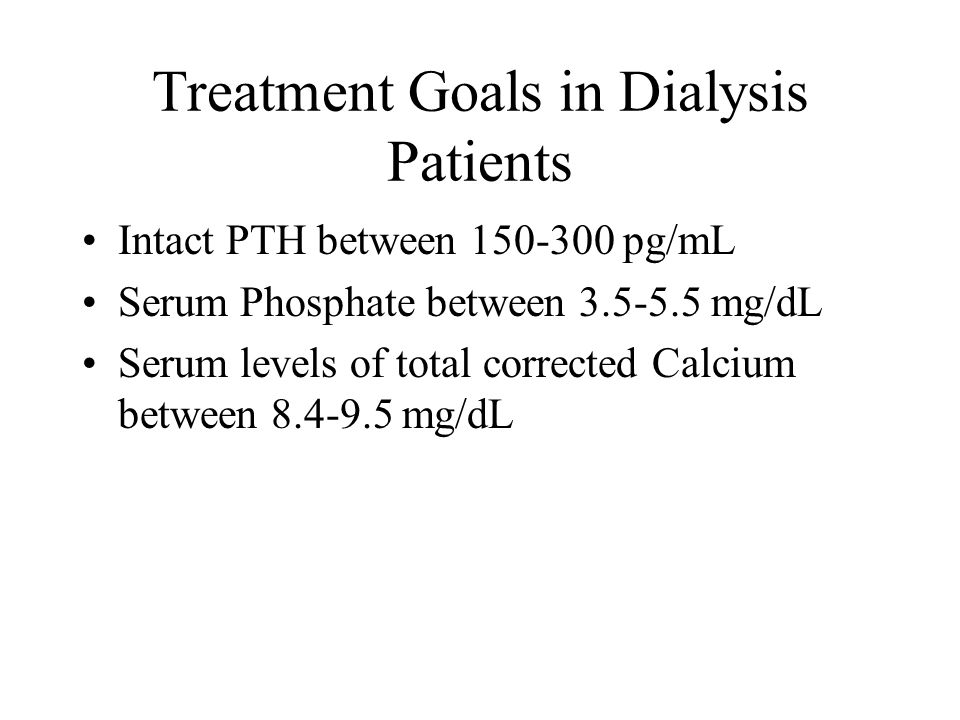 Treatment Goals in Dialysis Patients