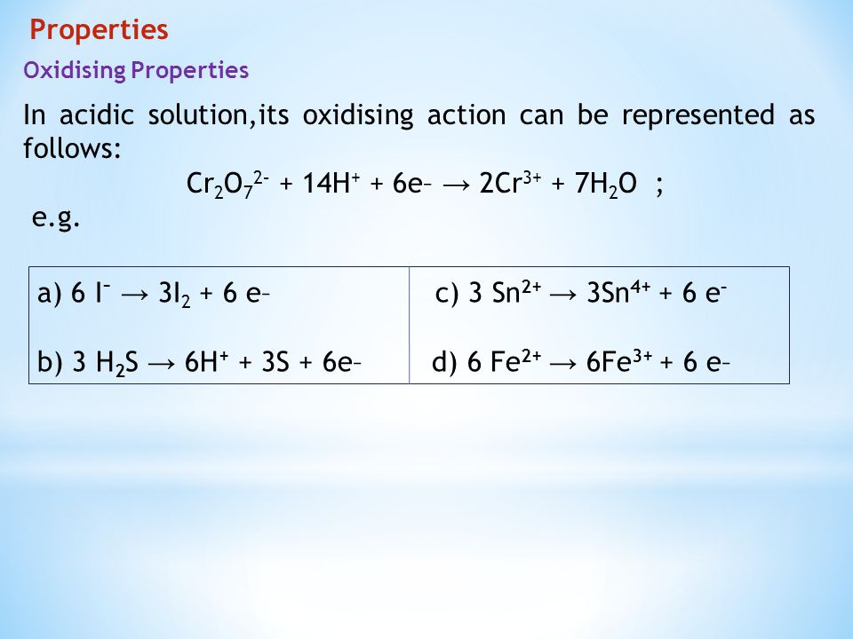 In acidic solution,its oxidising action can be represented as follows: