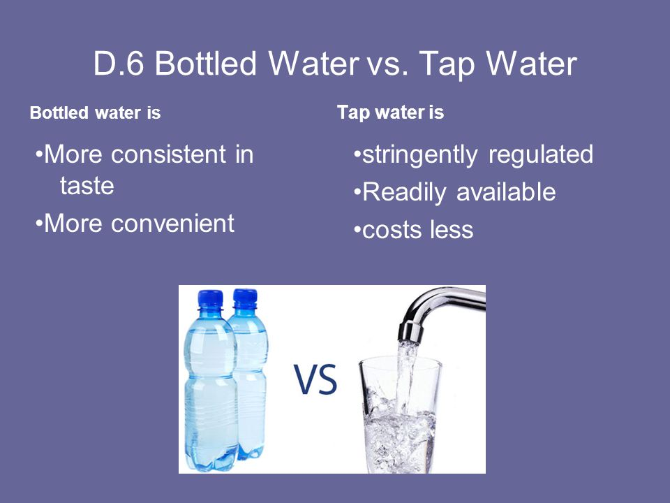 bottled water vs tap water essay - purpose: to inform audience about tap, bottled water and other water treatments, so they can make a better choice in choosing clean drinking water i introduction attention getter- in the year 2003 americans alone spent more than 7 billion on bottled water, at an average cost of $ 1 per bottle.