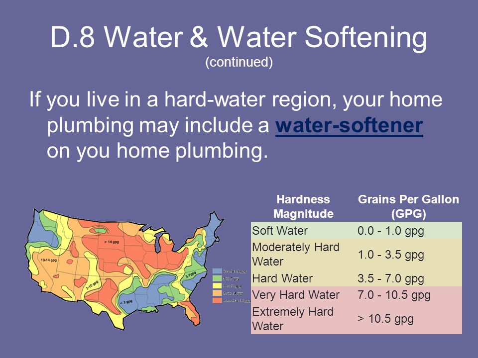 D.8 Water & Water Softening (continued)