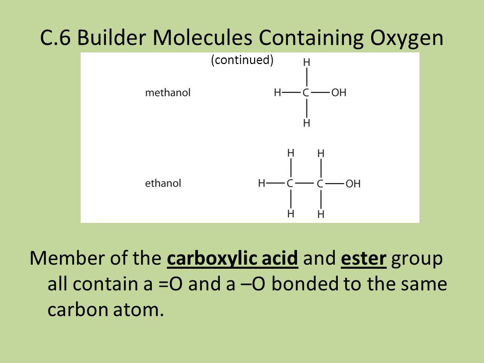 C.6 Builder Molecules Containing Oxygen (continued)