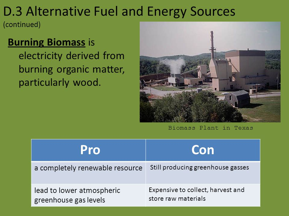 D.3 Alternative Fuel and Energy Sources (continued)